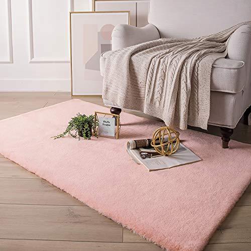 QUANHAO alfombra artificial de piel de conejo, lujosa alfombra interior mullida, hermosa alfombra de dormitorio, adecuada para sala de estar y sofá de dormitorio(polvo, 120x160 cm)