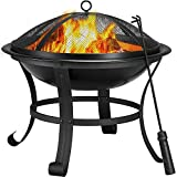 YAHEETECH Fire Pit 22inch Outdoor Wood Burning BBQ Grill Steel Firepit Bowl with Spark Screen Cover, Log Grate, Poker for Camping Beach Bonfire Picnic Backyard Garden