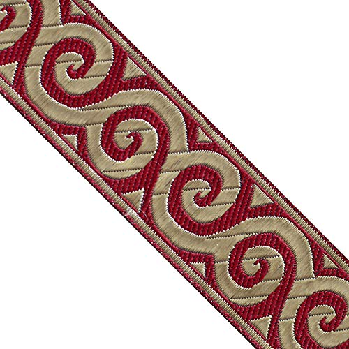 JL 359 Jacquard Metallic Gold Waves Burgundy Ribbon Trim 1-5/16' (33mm) 5 Yards DIY for Sewing Crafting Home Decor, Wedding, Gift Wrapping, Head Bands, Bag Straps