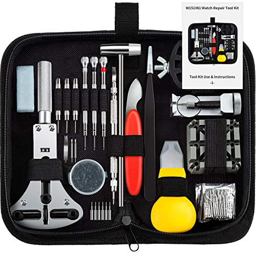 Watch Repair Kits, SHOWPIN 149pcs Watches Battery Replacement Tool Kit with Watch Link Remover Kit, Watch Adjustment with Spring Bar Tool Kit, Watch Resizing with Instruction Manual and Carrying Case