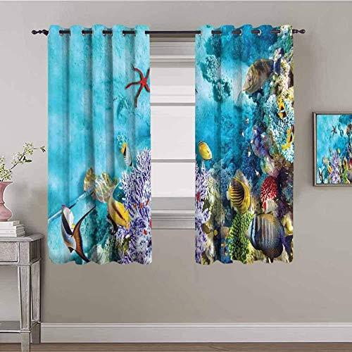Nileco Cortinas de Opacas - Azul mar coral pescado - 234x183 cm - 3D Impresión Digital con Ojales Aislamiento Térmico - para Sala Cuarto Comedor Salon Cocina Habitación