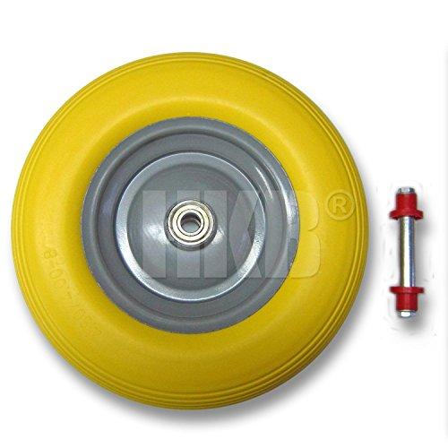 1 HKB PU-Schubkarrenrad mit Achse, 4.80/4.00-8, Stahlfelge, Kugellager, pannensicher, PU Schaum, Achs-∅ 20mm, Nabenbreite 80mm, Artikel-Nr.161820