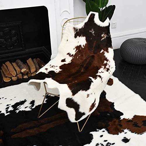 YEARGER Alfombra de piel de vacuno sintética con estampado de vaca para salón o baño, 110 x 95 cm