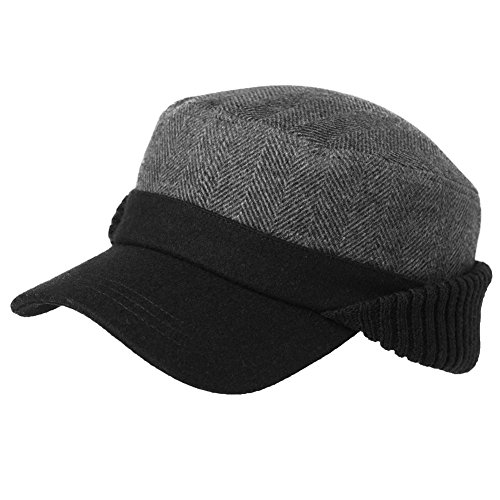 Mens Winter Wool Baseball Cap Earflap Hat Hunting Fitted Hats Black Cold Weather Military Cap Cotton Lined Unisex