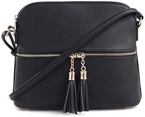 SG SUGU Lunar Lightweight Medium Dome Crossbody Bag Shoulder Bag with Tassel   Zipper Pocket   Adjustable Strap