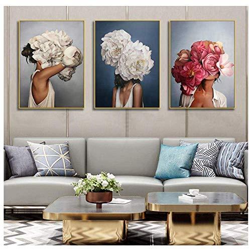 SXXRZA Leinwand Kunstwerk 3x60x80cm ohne Rahmen Porträt Kunst Leinwandbilder Leinwanddrucke Wandkunst Frauen mit Blumen Bilder für Wohnzimmer Dekor