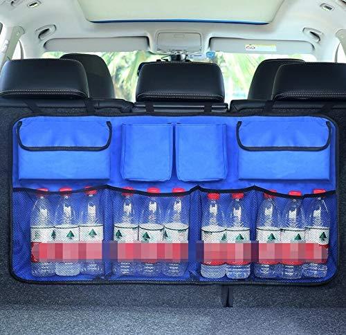 JAP768 1pc Auto-Kofferraum Organizer Einstellbare Backseat Speicher-Beutel-Net High Capacity Multi-Use Oxford Autositzrückseiten Veranstalter Universal- (Farbe : Blue with Pocket)