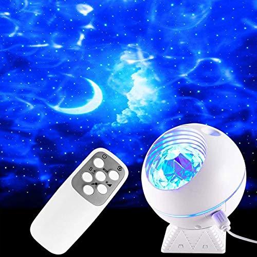 HOOJUEAN LED Proyector de Luz Estrellas Galaxia, Lámpara Proyector Estrellas, Luz Nocturna Giratorio, Luz de Luna de 10 Colores y Control Remoto, para Fiesta Decoraciones de Cumpleaños