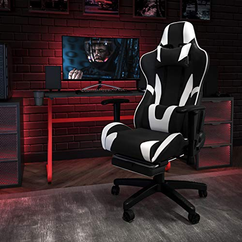Flash Furniture Red Gaming Desk and Black Footrest Reclining Gaming Chair Set with Cup Holder and Headphone Hook