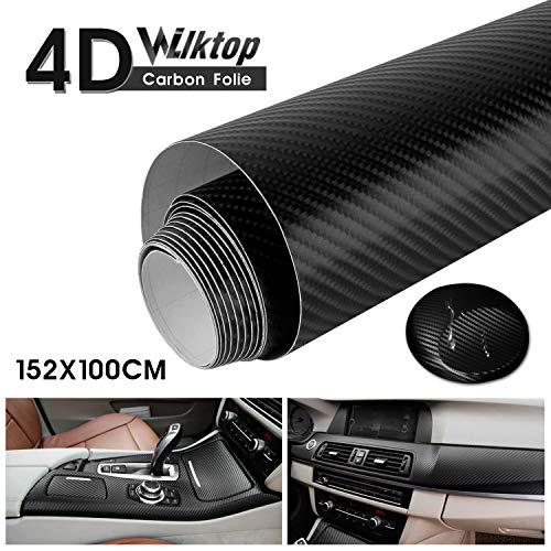 Wilktop 4D Carbon Folie, 4D Autofolie Carbon Hochglanz Vinyl Auto Folie Car Wrapping Folie 0,19mm Autofolie (100 x 152cm) Schwarz