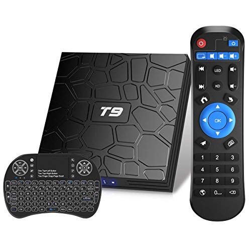 Android TV Box, T9 Android 9.0 TV Box con Mini Teclado inalámbrico 4GB RAM 32GB ROM RK3318 Bluetooth 4.0 Procesador Quad-Core Cortex-A53 2.4/5.0GHz WiFi Compatible con 4k2k Ultra H.265 Smart TV Box