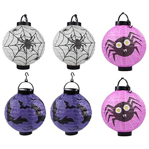 JLZK Protección del Entorno de Seguridad. Linternas de Papel 6pcs Papel de Halloween de Las linternas LED Araña Bat Ronda Decoración China de luz for Fiesta de Halloween