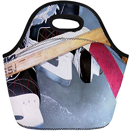 Lunch Tassen Fotografie Hockey Sport Skates Sticks Ijs Neopreen Lunch Bag Lunchbox Tote Bag Draagbare Picknick Bag Cooler Bag