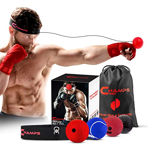 Boxing Reflex Balls Set of 4 – Boxing Ball MMA Gear of with Varying Weights with Adjustable Headband and 4 Spare Strings to Improve Speed and Hand-Eye Coordination for Men, Kids Boxing Equipment