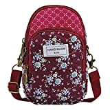 Small Cell Phone Purse, Techcircle Floral Crossbody Bag Zip Wallet, Wine Red