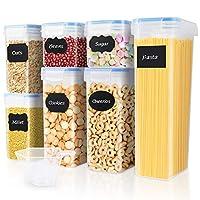 contenitori alimentari set di 7 contenitori cucina ermetici senza bpa buon aiuto per riporre la cucina facile da pulire perfetto per cereali, avena, pasta, cheerios, noci, ecc