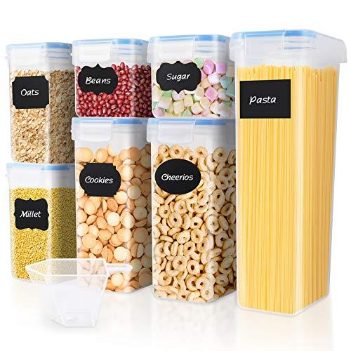 SOLEDI Boîtes Hermétique Conservation Alimentaire 7 pièces, récipient de Stockage scellé sans BPA, adapté aux céréales, à la Farine, étiquette réutilisable 18 pièces, Tasse à mesurer de 250ML