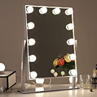 Fully meet the needs of all your different makeup with 3 different lighting options ( warm yellow, daylight and cool white ) , such as the makeup for daily, party, business and so on. Vanity mirror with 12 dimmable LED bulbs, allows you to freely adj...