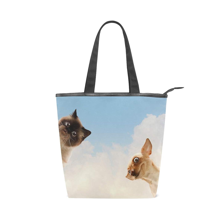 影響メッシュの慈悲でキャンバス バッグ トートバッグ 多機能 多用途2way犬柄 動物 ショルダー バッグ ハンドバッグ レディース 人気 可愛い 帆布 カジュアル 多機能 両用トートバッグ ァスナー付き ポケット付 Natax