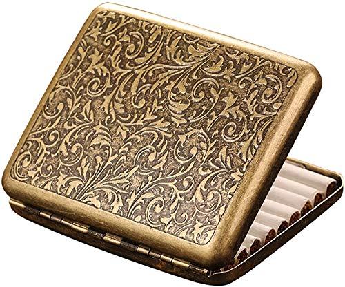 Gymqian Caja de Cigarrillos Retro Metal Caja de Metal de Doble Cara Clip de Resorte Abierto para 20 Cigarrillos (Dorado) Multifunción