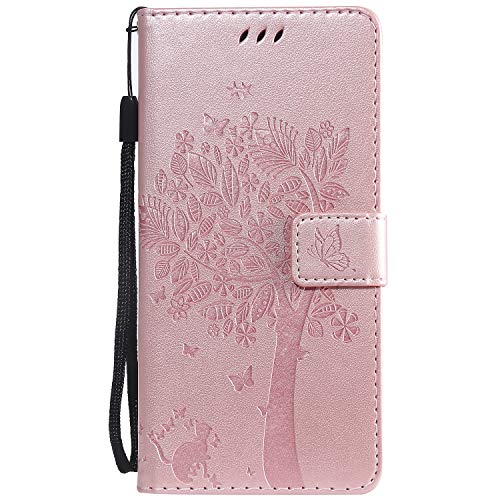 Hülle für Xiaomi Mi 9 Lite / CC9 Hülle Leder,[Kartenfach & Standfunktion] Flip Case Lederhülle Schutzhülle für Xiaomi Mi 9 Lite - EYKT021942 Rosa Gold