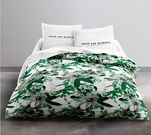 Today Enjoy Passions-Bettwäsche HC4: Bettbezug 240 x 260 cm + 2 Kissenbezüge 100 % Baumwolle, 57 Fäden, Grün, 240/260