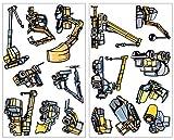 Juego de máquinas excavadora y diseño 16 piezas pared adhesivo grúa Camiones pared pegatinas, multicolor, 2x 16x26cm