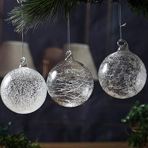 Christmas Glass Handmade Clear Ball Ornaments 3.15'/8 cm Silk Frost Glitter Decoration Gift Present Mouth Blown Tree Hanging Wedding Party Home Birthday Glitter Baubles Sphere Set of 6 Pieces