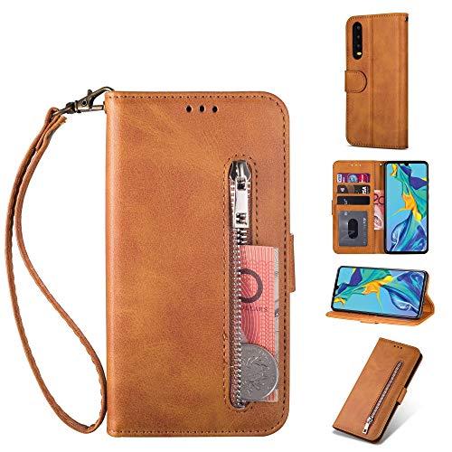 ZTOFERA Huawei P20 Pro Hülle, Magnetisch Folio Flip Wallet Leder Standfunktion Reißverschluss schutzhülle mit Trageschlaufe, Brieftasche Hülle für Huawei P20 Pro - Braun