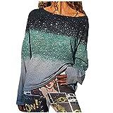 Wave166 Tie Dye - Blusa de manga larga para mujer con degradado de color impreso, sudadera con cuello redondo, informal, holgada, holgada, de manga larga, ropa deportiva para mujer, verde, S