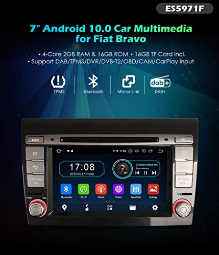 Autoradio Erisin ES5971F 7' Fiat Bravo Android 10.0 Autoradio GPS DAB+ OBD2 DTV CD Bluetooth +