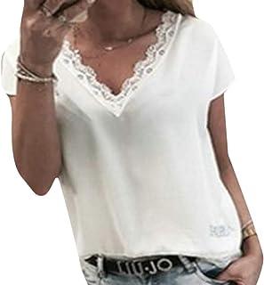 FRPE Womens Short Sleeve Summer V-Neck Chiffon Top Blouse T-Shirt