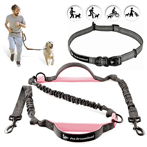 Pet Dreamland Hands Free Leash for Running Medium to Large Dogs  Waist Dog Leash  Professional Shock Absorbing Bungee Harness  Reflective Dog Running Belt
