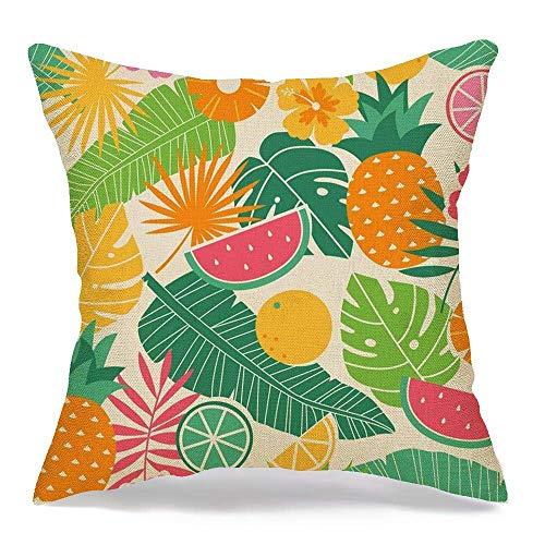 shenhaimojing Funda De Almohada Cuadrada,Funda De Almohada Colorido Piña Tropical Verano Patrón Naturaleza Naranja Rebanada Aloha Banana Beach Exotic Floral
