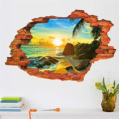 YUIOP Sunrise Seestück Wandaufkleber Sunshine Beach View Wandtattoos PVC 3D durch BacksteinHome Schlafzimmer Wohnzimmer Dekor Wandaufkleber