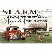 2個 ファームランチメタルティンサイン牛、ファームでの生活はより良いレトロポスターガレージキッチン壁プラーク家の装飾カフェファームランチクラブポスター絵画12x16インチ メタルプレート レトロ アメリカン ブリキ 看板