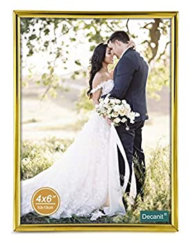 Decanit Gold Metal Thin Edge 4x6 Picture Frames Gold Thin Profile photo frame 4 by 6 Inch,Wall Mount or Tabletop
