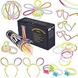 Osaloe 232-teiliges Set Knicklichter Leuchtstäbe Armbänder Glowstick mit Steckverbindern, Dreifache Armbänder, EIN Stirnband, Ohrringe, Blumen, Eine glühkugel & vieles -