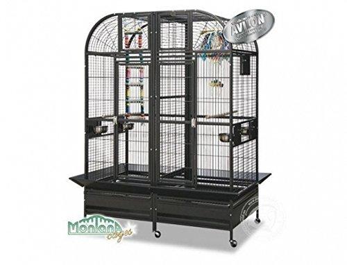 Montana Cages ® | Papageienkäfig XXL Chicago - Platinum der Käfig, Voliere für Papageien mit Trennwand