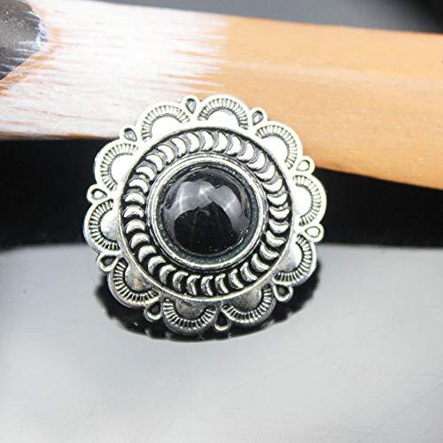 DIY Vintage Zilver Floral Edge Portemonnee Decoratie klinknagel schroeven knop 25 mm 5 stks/partij 25 mm Zwart