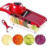 Cortador de vegetales multiusos 7 en 1 Mandolina de cocina, cortinas de cocina de rebanador y cortadores manuales, cuchilla de acero inoxidable intercambiable con contenedor de alimentos, para cortar