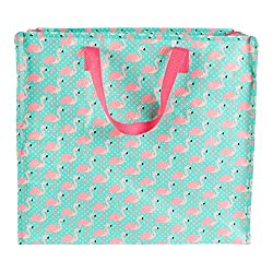 Fun and Cute Tropical Flamingo Designed Turquoise Shopper Bag Perfect for storing clothes, laundry, toys, bedding, etc Full zipped top for easy access and secure fastening Made From Woven PP (Recycled Plastic) with Nylon Webbing Handles Size: Approx ...