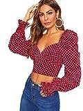 Romwe Women's Elegant Sweetheart Neck Lantern Long Sleeve Shirred Slim Crop Top Blouse Red Large