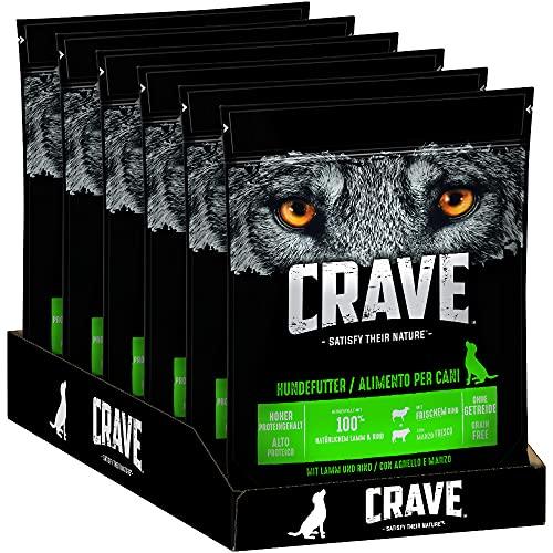 CRAVE Premium Trockenfutter mit Lamm & Rind für Hunde – Getreidefreies Adult Hundefutter mit hohem Proteingehalt – 6 x 1 kg