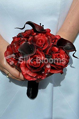 Gótico rojo oscuro Rosa y Negro Calla Lily Mini Posy ramo