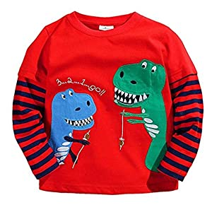 Coralup Boys Girls Unisex Long Sleeve Cotton T-Shirt(1-7 Years)