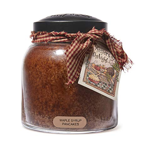 A Cheerful Giver Scented Glass Jar Candle - 34 oz. Maple Syrup Pancakes Papa Jar Candle with Lid & True to Life Fragrance Made in USA - Keepers of The Light Collection