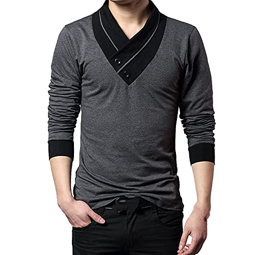 Moda marca tendencia slim manga larga cuello Vneck camiseta algodón puro