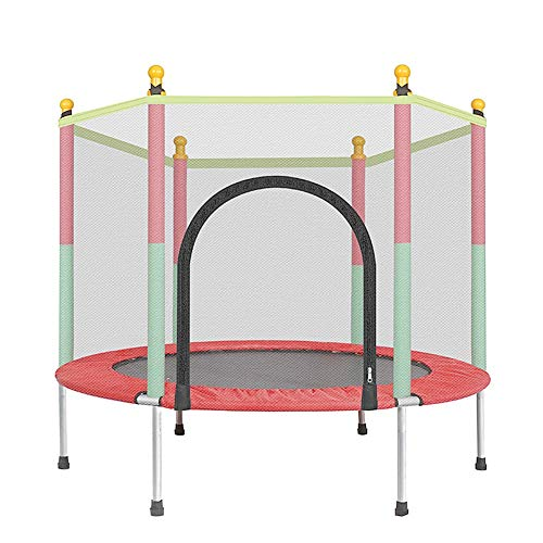 XTT Trampolin 140 cm mit Netz Outdoor Minitrampolin Für Jumpsport Fitness Bis 200kg Mit Sicherheitsnetz Indoor Trampolin Leise Gummiseilfederung für Aerobic Rebounds