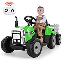 🎁Realistic Driving Experience for More Fun: Turn on the power switch, choose two forward/ reverse gear, then press the foot pedal providing your kids the speed of 2-5mph, simple for kids to drive this tractor with trailer and exercise your child's ha...